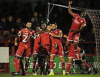 Football - 2019 / 2020 EFL Carabao (League) Cup - Crawley Town vs. Stoke City<br /> <br /> Nathan Ferguson of Crawley celebrates his equalising goal with his team mates, at The Peoples Pension Stadium (Broadfield).<br /> David Sesay (18) right.<br /> <br /> COLORSPORT/ANDREW COWIE
