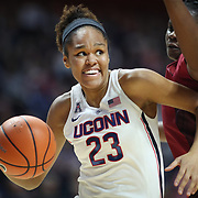 UNCASVILLE, CONNECTICUT- DECEMBER 19:  Azura Stevens #23 of the Connecticut Huskies drives to the basket defended by Vionise Pierre-Louis #0 of the Oklahoma Sooners during the Naismith Basketball Hall of Fame Holiday Showcase game between the UConn Huskies Vs Oklahoma Sooners, NCAA Women's Basketball game at the Mohegan Sun Arena, Uncasville, Connecticut. December 19, 2017 (Photo by Tim Clayton/Corbis via Getty Images)