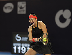 BEIJING, Oct. 2, 2018  Jelena Ostapenko of Latvia hits a return during the women's singles second round match against Wang Qiang of China at China Open tennis tournament in Beijing, China, Oct. 2, 2018. Jelena Ostapenko lost 0-2. (Credit Image: © Jia Haocheng/Xinhua via ZUMA Wire)
