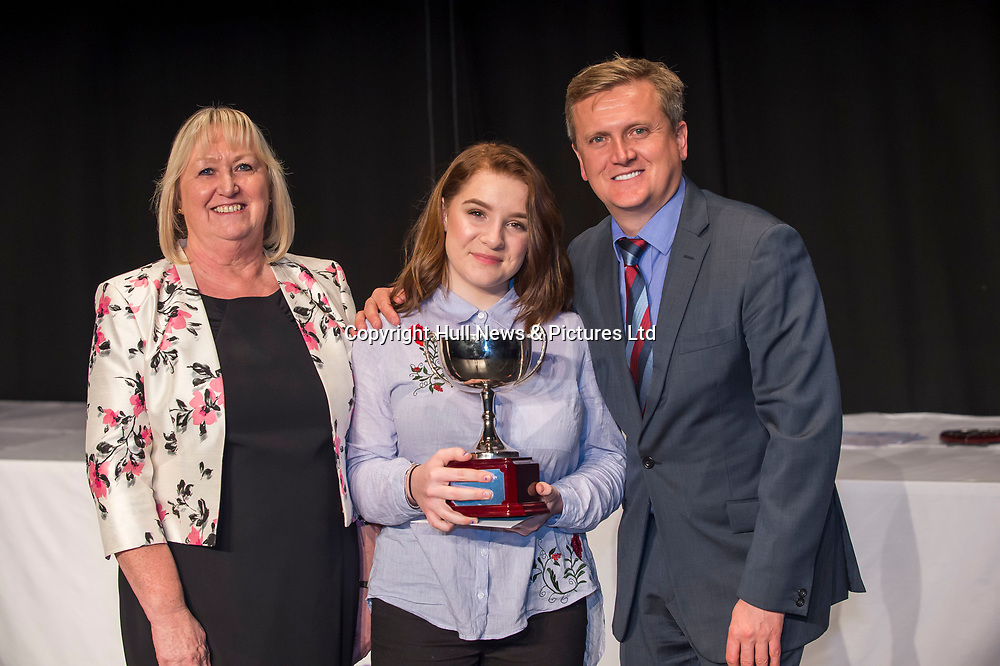 10 October 2017: Cleethorpes Academy Presentation Evening at Grimsby Auditorium. The guest speaker was Aled Jones MBE who presented the awards and also visited the Academy earlier in the day.<br /> GCSE Progress Award winner Dinah Bampi. Pictured left is Principal Jancie Hornby.<br /> Picture: Sean Spencer/Hull News & Pictures Ltd<br /> 01482 210267/07976 433960<br /> www.hullnews.co.uk         sean@hullnews.co.uk
