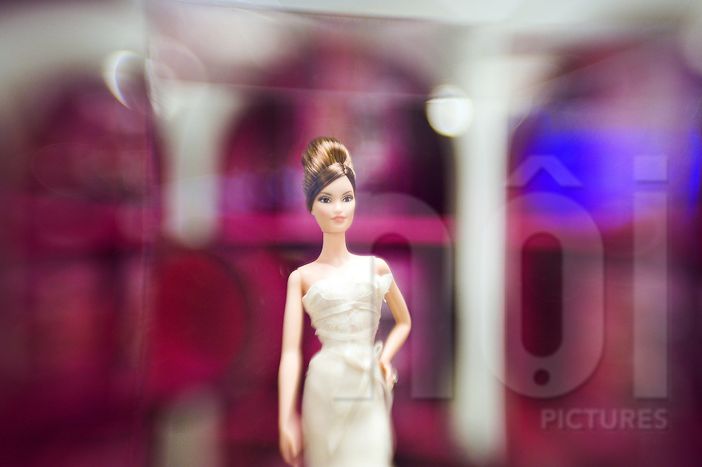 Close up of a doll in white wedding dress. Barbie shop, Shanghai, China, Asia.