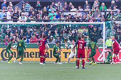 October 21, 2018 - Portland, OR, U.S. - PORTLAND, OR - OCTOBER 21, 2018: Portland Timbers goal keeper Steve Clarck makes a save during the Portland Timbers 3-0 victory over Real Salt lake on October 21, 2018, at Providence Park in Portland, Oregon. (Photo by Diego Diaz/Icon Sportswire) (Credit Image: © Diego Diaz/Icon SMI via ZUMA Press)