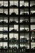 People work late in an office building Bank in London. Friday January 5th 2018