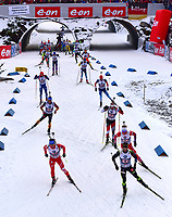 Skiskyting  , 13. desember 2014 ,  - BIATHLON - IBU World Cup, 4 x 7,5 km relay, men, award ceremony. Image shows Dmytro Pidruchnyi (UKR), Simon Fourcade (FRA), Johannes Thingnes Bøe (NOR), Erik Lesser (GER), Daniel Mesotitsch (AUT) and further athletes.<br /> Norway only