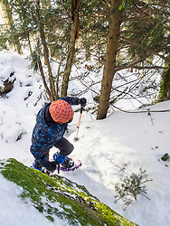 Overhead view of a Girl snowshoeing in Black Forest, Germany, Europe