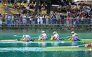 Bled, SLOVENIA. GBR W4X winning the B Final Bow Mel WILSON, Beth RODFORD, Annie VERNON and Debbie FLOOD.   [Day Five]  at the 2011 FISA World Rowing Championships, Lake Bled. Thursday  01/09/2011  [Mandatory Credit; Peter Spurrier/ Intersport Images]