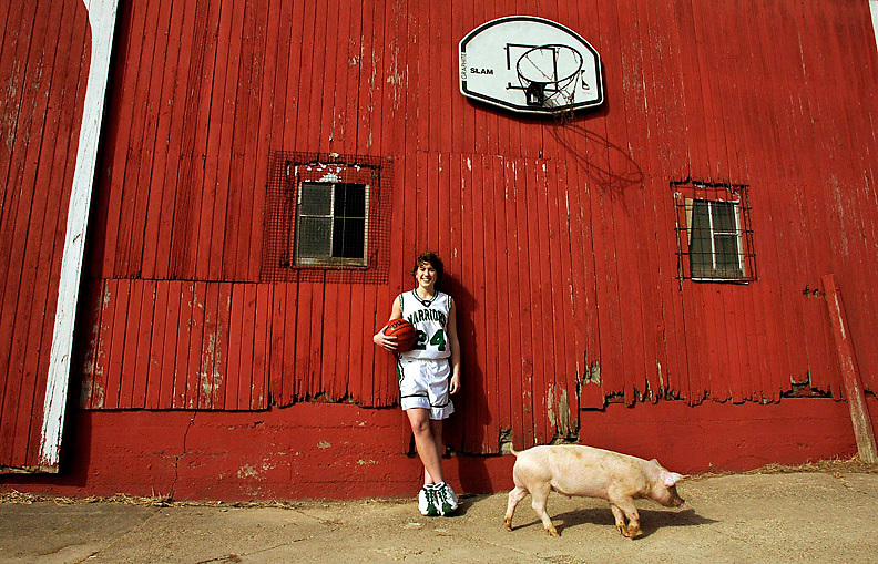 Shanna Zolman, 18, of Syracuse, Indiana, an All-USA basketball player photographed outside a barn belonging to a classmate's family..