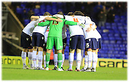 Bolton Wanderers team huddle during the Sky Bet Championship match between Birmingham City and Bolton Wanderers at St Andrews, Birmingham, England on 23 February 2016. Photo by Daniel Youngs.