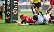 Scarlets' Rhys Patchell scores his sides third try.<br /> Guinness Pro14 rugby match, Scarlets v Southern Kings at the Parc y Scarlets in Llanelli, Carms, Wales on Saturday 2nd September 2017.<br /> pic by Craig Thomas, Andrew Orchard sports photography.