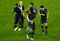SAINT PETERSBURG, RUSSIA - JULY 10: (L to R) Ousmane Dembele, Didier Deschamps, Presnel Kimpembe, Raphael Varane and Benjamin Pavard of France national team celebrate victory during the 2018 FIFA World Cup Russia Semi Final match between France and Belgium at Saint Petersburg Stadium on July 10, 2018 in Saint Petersburg, Russia. MB Media