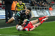 Keelan Giles of the Ospreys dives over to score a try in the 2nd half.  Guinness Pro12 rugby match, Ospreys v Edinburgh Rugby at the Liberty Stadium in Swansea, South Wales on Friday 2nd December 2016.<br /> pic by Andrew Orchard, Andrew Orchard sports photography.