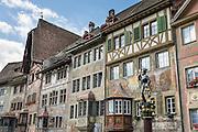 Stein am Rhein has a well-preserved medieval center with beautiful frescoes, in Schaffhausen Canton, Switzerland, Europe.