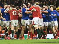 Football - 2020 Guinness Six Nations Championship - Wales vs. France<br /> <br /> scuffles develop after the final whistle , at the Principality (Millennium) Stadium.<br /> <br /> COLORSPORT/WINSTON BYNORTH
