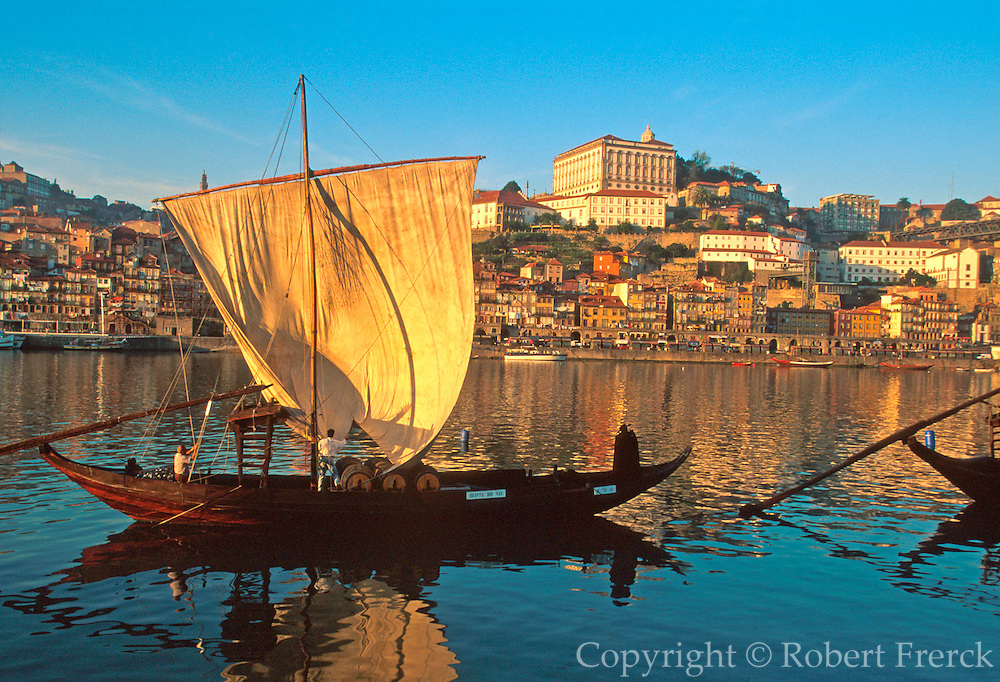 PORTUGAL, DOURO, PORTO city skyline above 'rabelos' barges