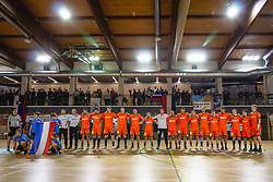 National team of Nederland during anthem ceremony before friendly handball match between Slovenia and Nederland, on October 25, 2019 in Športna dvorana Hardek, Ormož, Slovenia. Photo by Blaž Weindorfer / Sportida