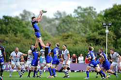 Andrew Coobs (Dragons) rises high to win lineout ball - Photo mandatory by-line: Patrick Khachfe/JMP - Mobile: 07966 386802 17/08/2014 - SPORT - RUGBY UNION - Bristol - Clifton Rugby Club - Bristol Rugby v Newport Gwent Dragons - Pre-Season Friendly