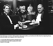 Kurt Knutson, Lumiere 'Rothschild' & Bernard Lafferty at the Beverly Hills Hotel re-Opening Party. Beverley Hills. Los Angeles.1995. Film 95272/8<br /><br />© Copyright Photograph by Dafydd Jones<br />66 Stockwell Park Rd. London SW9 0DA<br />Tel 0171 733 0108