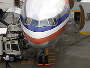 close up of an American Airlines Airplane being serviced at Narita Airport Tokyo Japan