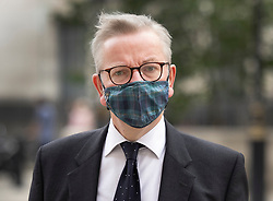 © Licensed to London News Pictures. 02/07/2021. London, UK. Minister for the Cabinet Office Michael Gove arrives in Whitehall. Labour candidate Kim Leadbeater has narrowly won the Batley and Spen by-election. Photo credit: Peter Macdiarmid/LNP