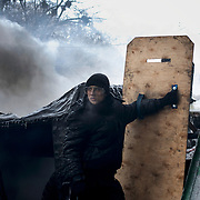 A anti-government protestor uses a homemade shield to protect himself from the riot police water canons at a barricade outside the Dynamo Kiev stadium, near the Independence Square in central Kiev.