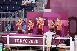 TOKYO - Olympische Spiele / Olympic Games 2021<br /> <br /> WETTSTEIN Estelle (SUI), West Side Story OLD, Kiss and Cry<br /> Grand Prix de Dressage<br /> <br /> Tokio, Equestrian Park<br /> 25. July 2021<br /> © www.sportfotos-lafrentz.de/Stefan Lafrentz