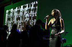 A choir sings in tribute to Cyrille Regis during the 2018 PFA Awards at the Grosvenor House Hotel, London.