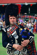 A Scotsman playing the Bagpipes at the Braemar Games, a Royal Highland gathering.  He is wearing a traditional tartan costume and a busby style hat.
