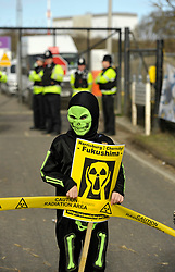 © Licensed to London News Pictures. 10/03/2012. Anti-nuclear demonstration at Hinkley Point nuclear power station in Somerset, UK, on the anniversary of the Fukushima nuclear disaster in Japan.  EDF Energy plans to build a new nuclear power station at Hinkley C powered by EPR reactors..Photo credit : Simon Chapman/LNP