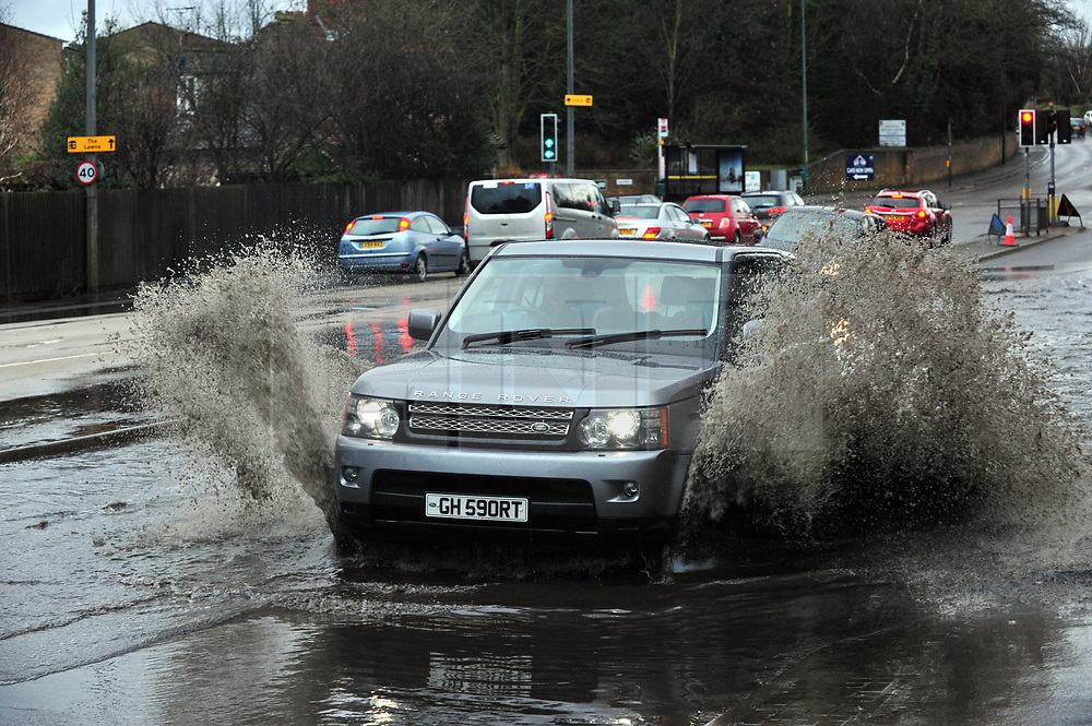 © Licensed to London News Pictures.01/01/2018<br /> AYLESFORD, UK.<br /> A20 London Road in Aylesford, Kent is flooded up to a foot deep in parts.<br /> Some roads in Kent have been flooded due to heavy rain today New Years Day.<br /> Photo credit: Grant Falvey/LNP