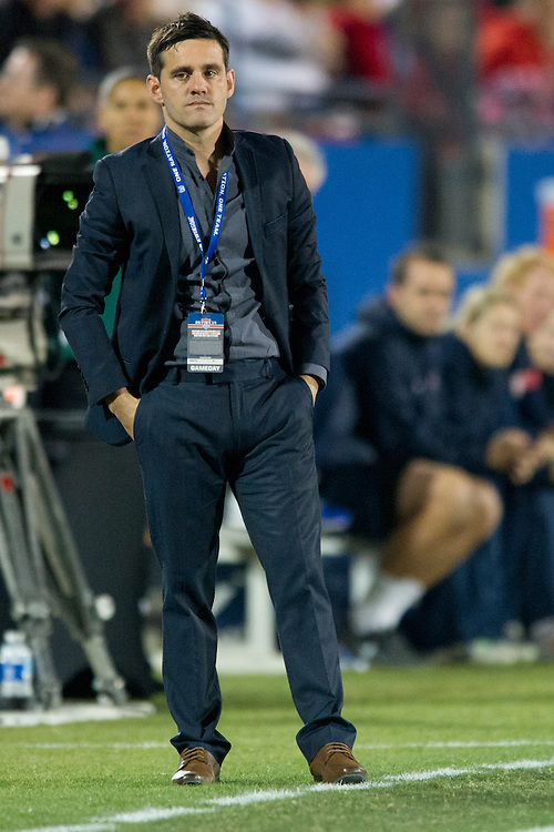 FRISCO, TX - JANUARY 31:  Canada head coach John Herdman looks on during an international friendly against the U.S. Women's National Team on January 31, 2014 at Toyota Stadium in Frisco, Texas.  (Photo by Cooper Neill/Getty Images) *** Local Caption *** John Herdman