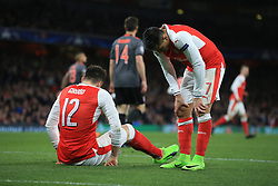 7 March 2017 - UEFA Champions League - (Round of 16) - Arsenal v Bayern Munich - Alexis Sanchez and Olivier Giroud of Arsenal rue a missed chance - Photo: Marc Atkins / Offside.