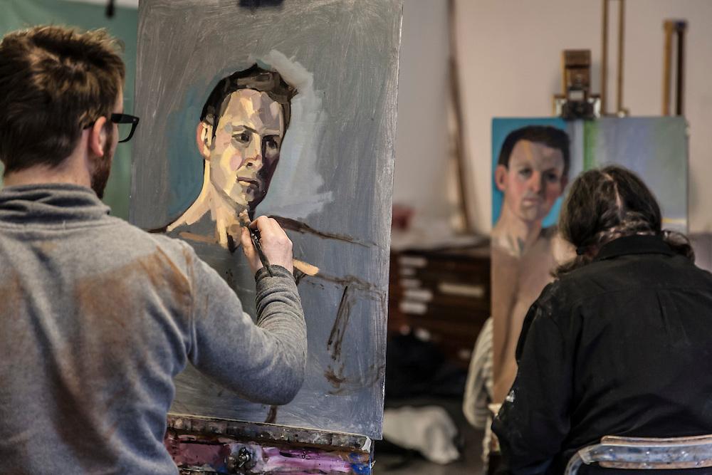 Portrait Painting at The Art Academy, Mermaid Court, 165A Borough High Street, London, England, on 12th November 2015