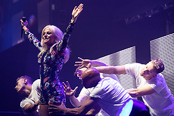 © Licensed to London News Pictures . 09/09/2017. Manchester , UK . PIXIE LOTT performs . We Are Manchester reopening charity concert at the Manchester Arena with performances by Manchester artists including  Noel Gallagher , Courteeners , Blossoms and the poet Tony Walsh . The Arena has been closed since 22nd May 2017 , after Salman Abedi's terrorist attack at an Ariana Grande concert killed 22 and injured 250 . Money raised will go towards the victims of the bombing . Photo credit: Joel Goodman/LNP