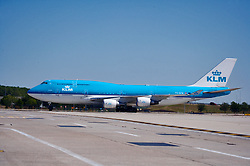 KLM international flight taxiing for departure from Houston's Intercontinental Airport