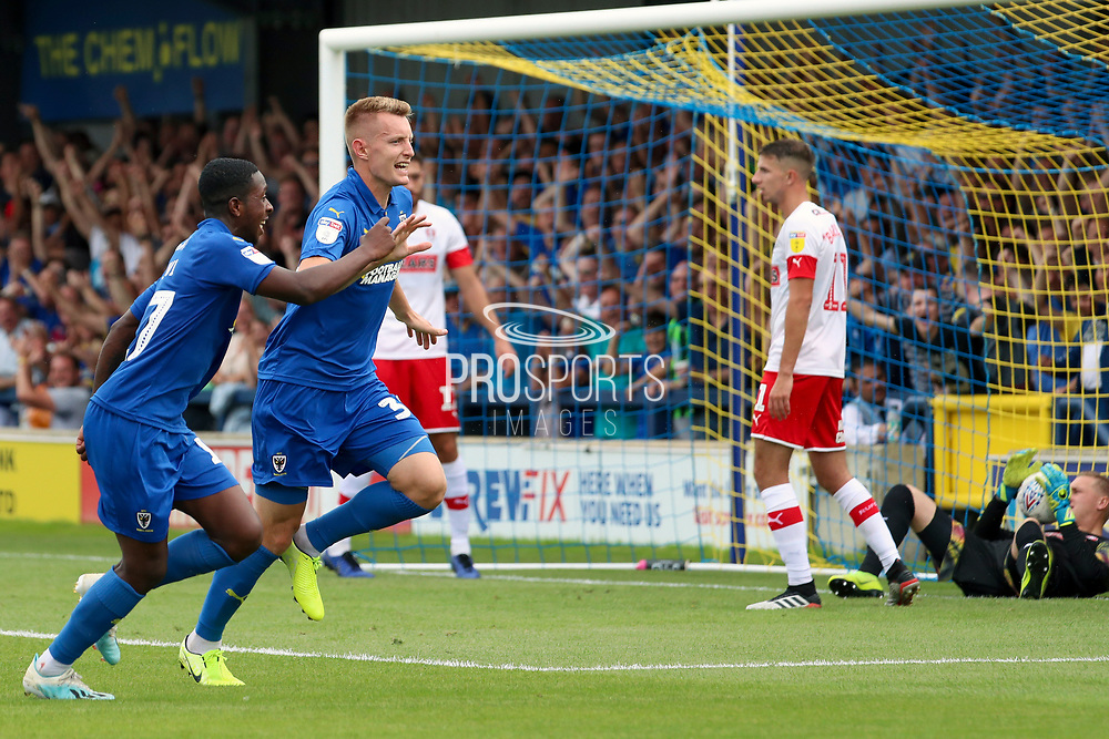 AFC Wimbledon striker Joe Pigott (39) celebrating after scoring goal to make it 1-1 during the EFL Sky Bet League 1 match between AFC Wimbledon and Rotherham United at the Cherry Red Records Stadium, Kingston, England on 3 August 2019.