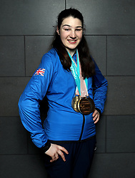 ParalympicsGB's Menna Fitzpatrick with her Gold, 2 Silver and Bronze medals as the team arrive at Heathrow Airport, London, following the PyeongChang 2018 Winter Paralympics.
