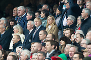 Twickenham, England, 7th March 2020, Left UK PM Boris JOHNSON and Partner Ms Carrie SYMONDS, Guests at the Guinness Six Nations, International Rugby, England vs Wales, RFU Stadium, United Kingdom, [Mandatory Credit; Peter SPURRIER/Intersport Images]