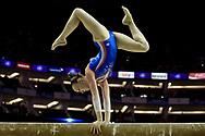 Tisha Volleman of the Nederlands(NED) on the Beam during the iPro Sport World Cup of Gymnastics 2017 at the O2 Arena, London, United Kingdom on 8 April 2017. Photo by Martin Cole.