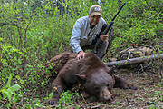 Keith Crowley admires the chocolate phase boar he tagged while black bear hunting with hounds in Idaho. Photo credit: Angie Denny