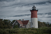 The Nauset Light along the coast of Cape Cod.