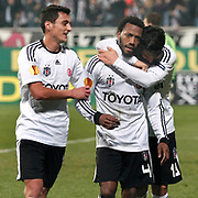 Besiktas's Manuel Fernandes (C) celebrate his goal with team mate during their UEFA Europa League Group Stage Group E soccer match Besiktas between Stoke City at Inonu stadium in Istanbul Turkey on Wednesday December 14, 2011. Photo by TURKPIX