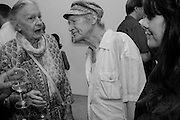 YVONNE ROBINSON; MICHAEL HOROVITZ, Albert Irvin: Painting the Human Spirit - private view<br /> Exhibition dedicated to the memory of Albert Irvin who passed away in March 2015. Private view held on anniversary of Irvin's birthday .Gimpel Fils Gallery, 30 Davies Street, London, 21 August 2015.