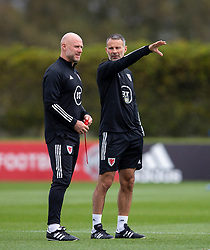 CARDIFF, WALES - Wednesday, September 2, 2020: Wales' manager Ryan Giggs (R) chats with assistant coach Robert Page during a training session at the Vale Resort ahead of the UEFA Nations League Group Stage League B Group 4 match between Finland and Wales. (Pic by David Rawcliffe/Propaganda)