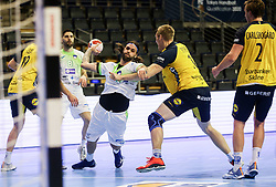 Dean Bombac of Slovenia during handball match between National Teams of Sweden and Slovenia at Day 3 of IHF Men's Tokyo Olympic  Qualification tournament, on March 14, 2021 in Max-Schmeling-Halle, Berlin, Germany. Photo by Vid Ponikvar / Sportida