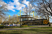 A general view of the outside of the Signal Iduna Park stadium ahead of the Champions League round of 16, leg 2 of 2 match between Borussia Dortmund and Tottenham Hotspur at Signal Iduna Park, Dortmund, Germany on 5 March 2019.