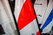 Sails on the RS Dinghies stand. The CWM FX London Boat Show, taking place 09-18 January 2015 at the ExCel Centre, Docklands, London. 09 Jan 2015.