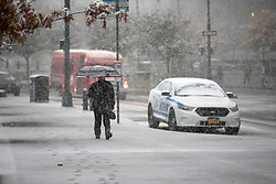 New York City gets its first snow fall of the year. **NO NEW YORK DAILY NEWS, NO NEW YORK TIMES, NO NEWSDAY**. 15 Nov 2018 Pictured: New York City in the snow. Photo credit: Erik Thomas/NY Post / MEGA TheMegaAgency.com +1 888 505 6342