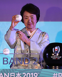 KYOTO, JAPAN - MAY 10: Fumiko Hayashi, Mayor of Yokohama city draws South Africa during the Rugby World Cup 2019 Pool Draw at the Kyoto State Guest House on May 10, in Kyoto, Japan. Photo by Dave Rogers - World Rugby/PARSPIX/ABACAPRESS.COM