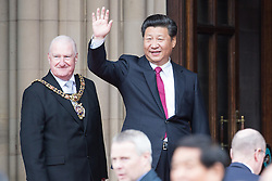 © Licensed to London News Pictures . 23/10/2015 . Manchester , UK . Chinese president , XI JINPING , visits Manchester as part of his state visit to the United Kingdom . Photo credit: Joel Goodman/LNP