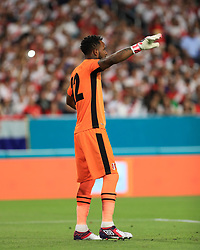 March 23, 2018 - Miami Gardens, Florida, USA - Peru goalkeeper Carlos Cáceda (12) directs his team during a FIFA World Cup 2018 preparation match between the Peru National Soccer Team and the Croatia National Soccer Team at the Hard Rock Stadium in Miami Gardens, Florida. (Credit Image: © Mario Houben via ZUMA Wire)